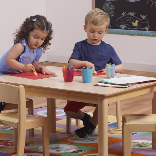 Wooden nursery table and chairs