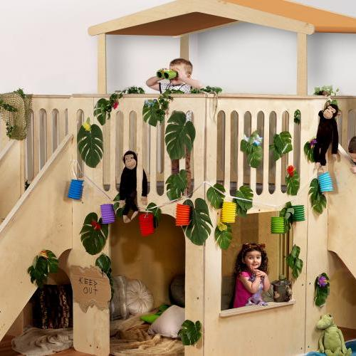 Wooden jungle  indoor playhouse with steps and slide