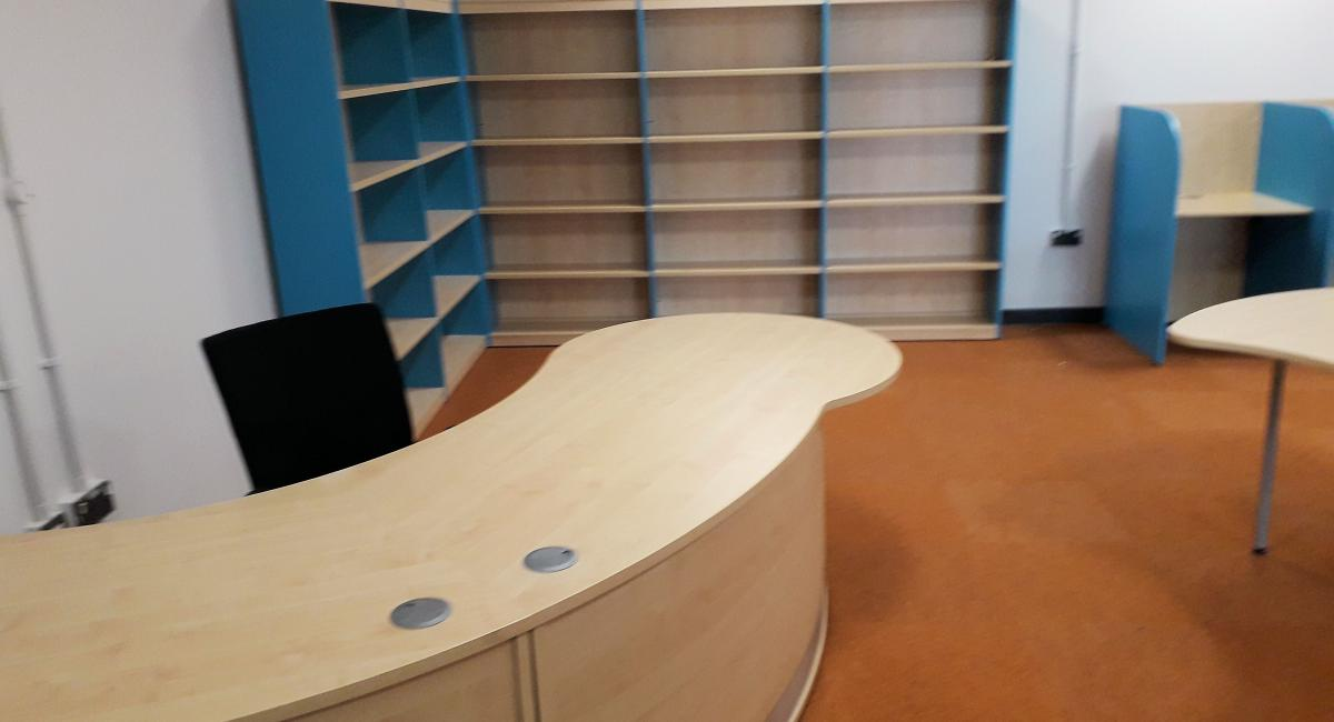 School library shelving and welcome counter