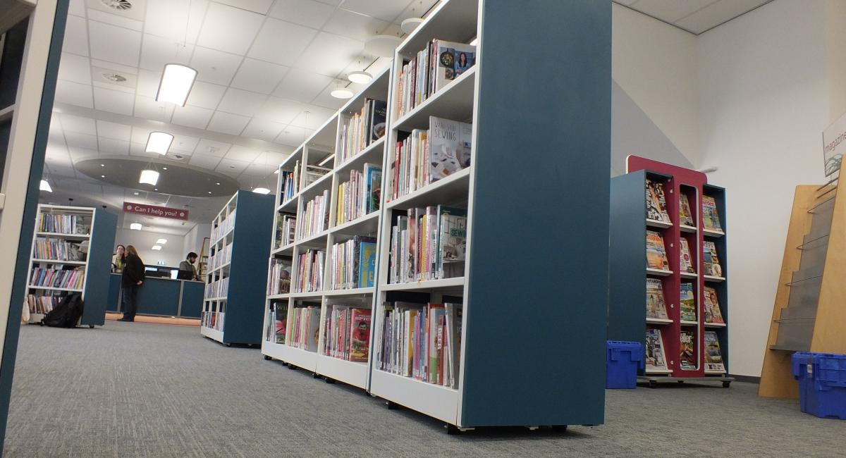 Aylesbury Library - Blue Wooden Book Storage