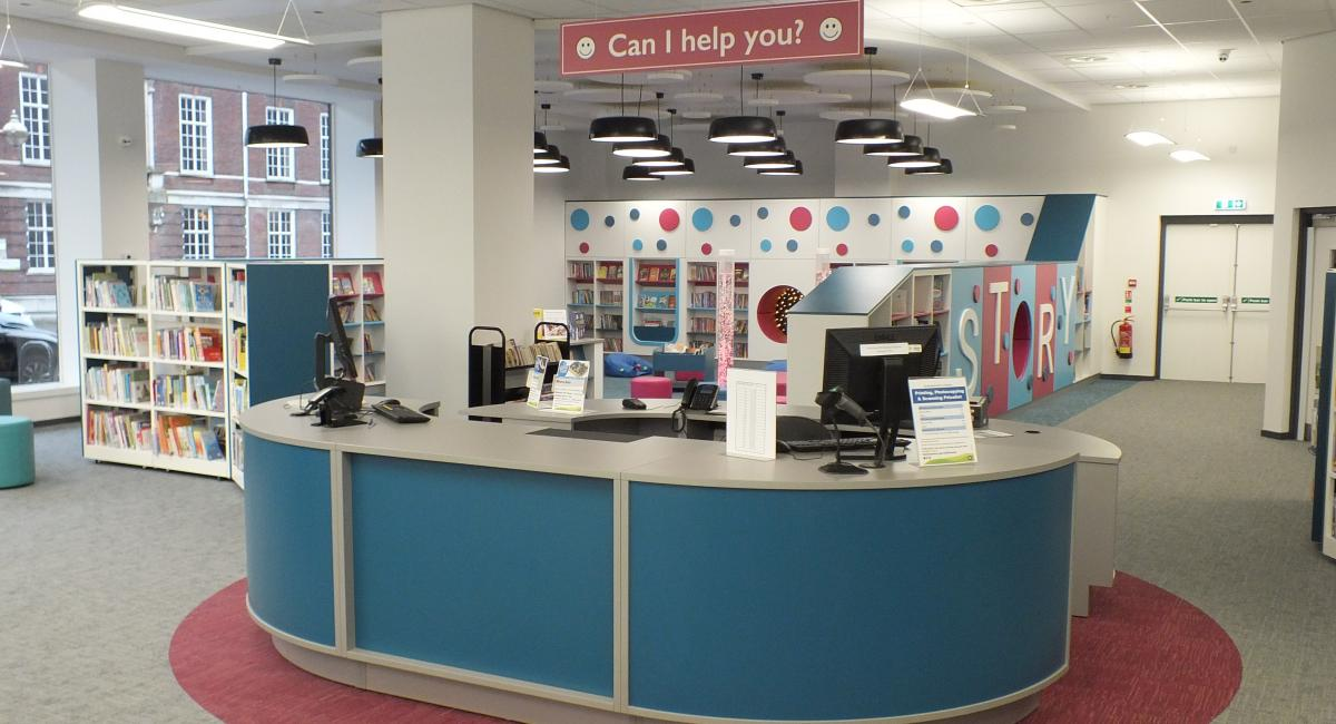 Aylesbury Library -  Blue Curved Modular Welcome Counter