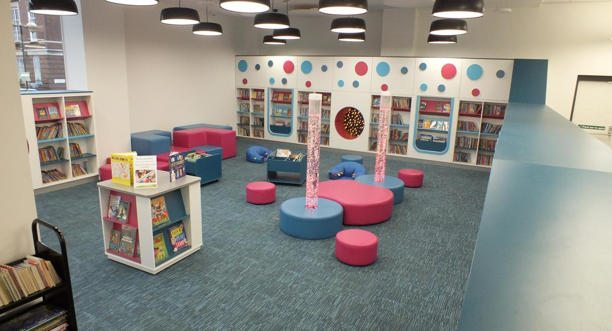 Aylesbury Library, Sensory Lighting Bubble Tubes in Children's Reading Area.